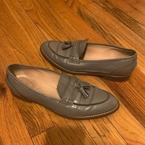 J Crew Leather Gray loafers with tassels sz 8.5 W